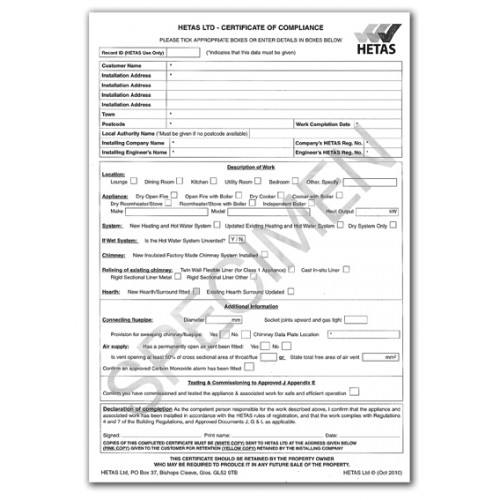Certificate Of Compliance Pad Of 10